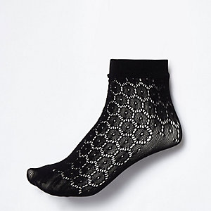 Black crochet ankle socks