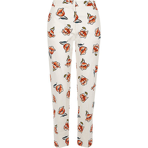 White floral print cropped cigarette pants