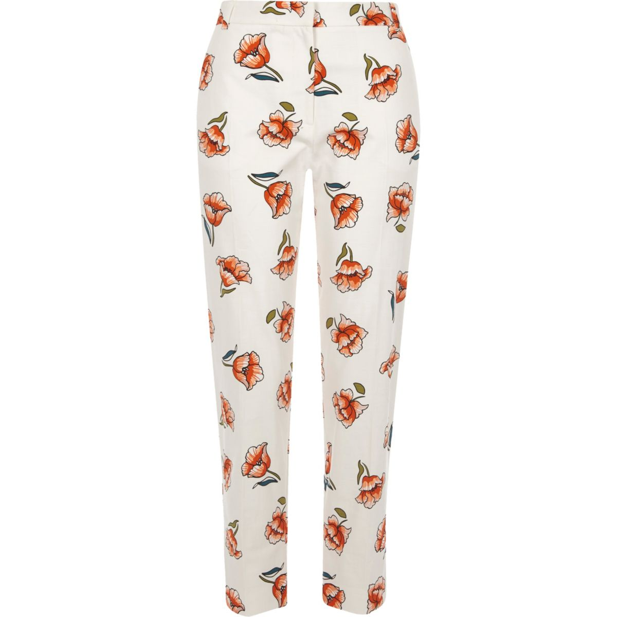 White floral print cropped cigarette trousers