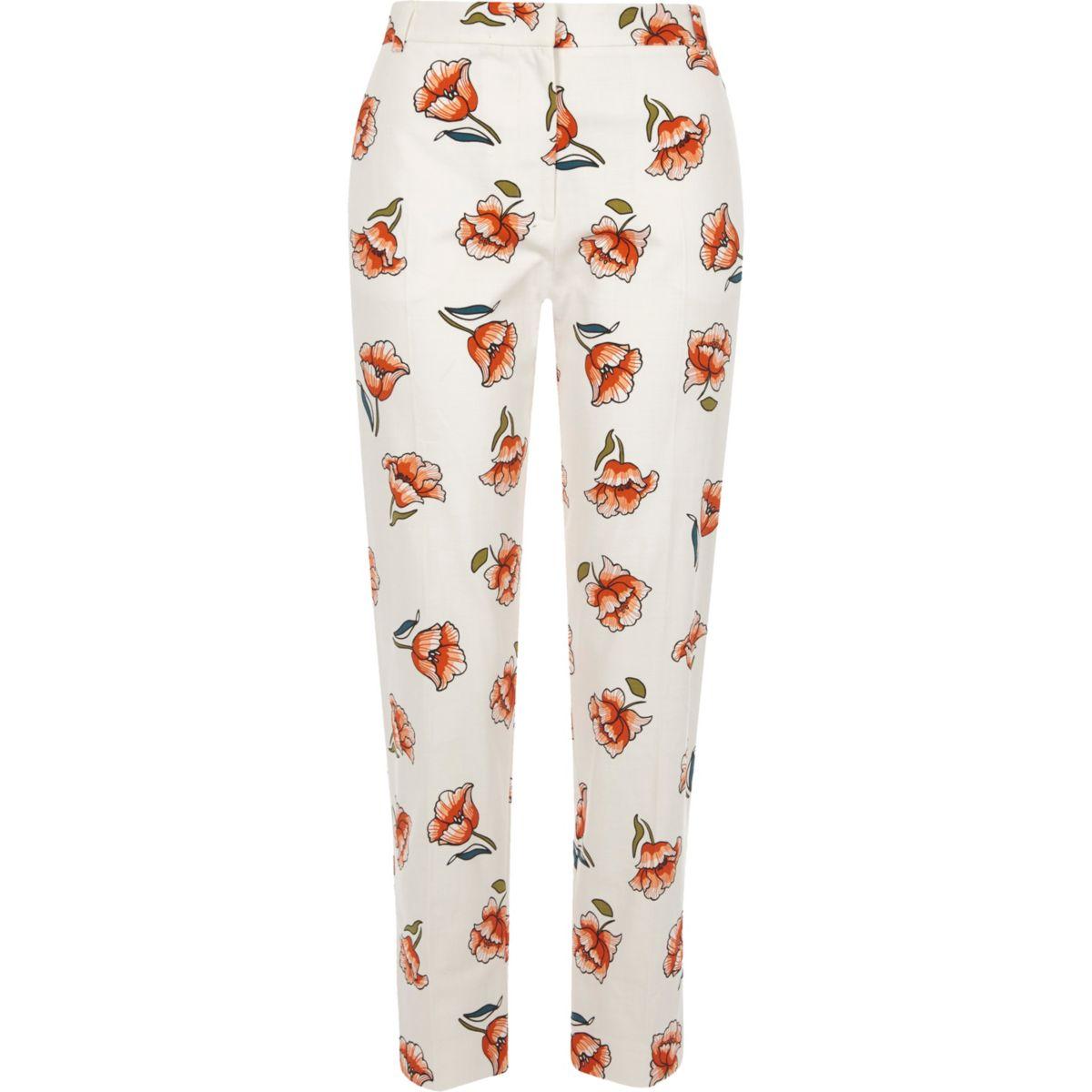 White floral print cropped cigarette pants