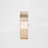 Rose gold tone pave bangle diamante watch