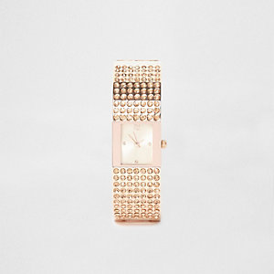 Rose gold tone pave bangle rhinestone watch
