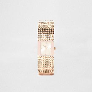 Rose gold tone pave bangle rhinestone watch