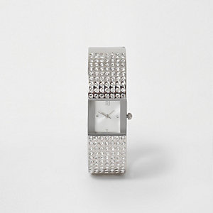Silver tone pave bangle diamante watch
