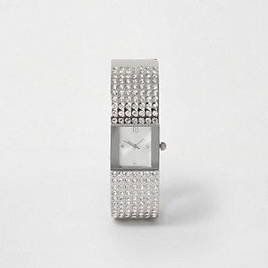 Silver tone pave bangle rhinestone watch
