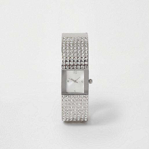 Silver tone pave bangle diamante watch