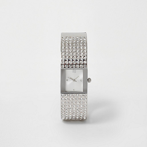 Silver tone pave bangle rhinestone watch