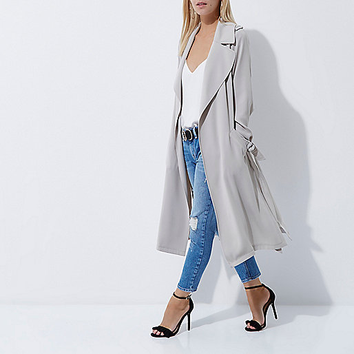 Petite light grey belted duster trench coat