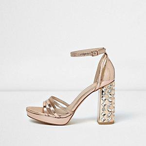 Roségoudkleurige metallic sandalen met hak