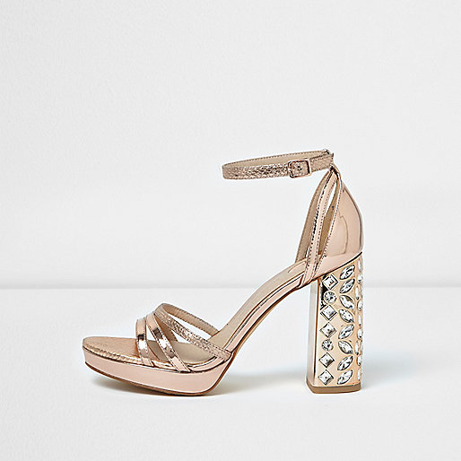 Rose gold metallic embellished heel sandals