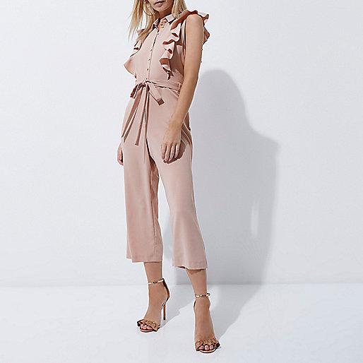 Petite light pink ruffle culotte jumpsuit