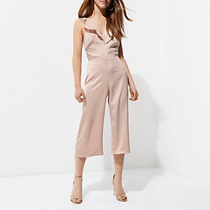 Petite pink frill culotte jumpsuit