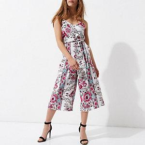Petite pink floral print culotte jumpsuit