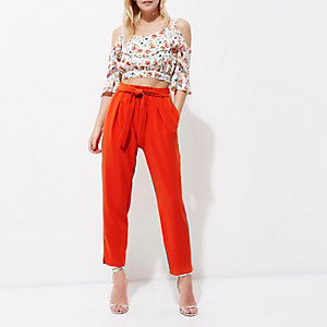Petite red tie waist tapered pants