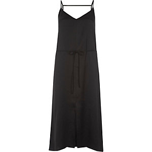 Black belted midi slip dress