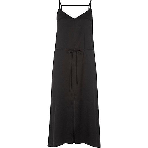 Black belted midi slip dress
