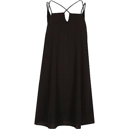 Black cross strap slip dress