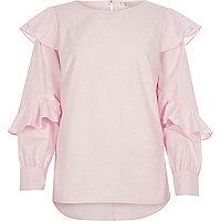 Chemise en popeline rose à manches à volants