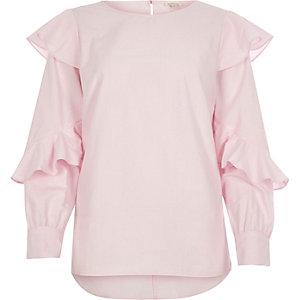 Pink frill sleeve poplin shirt