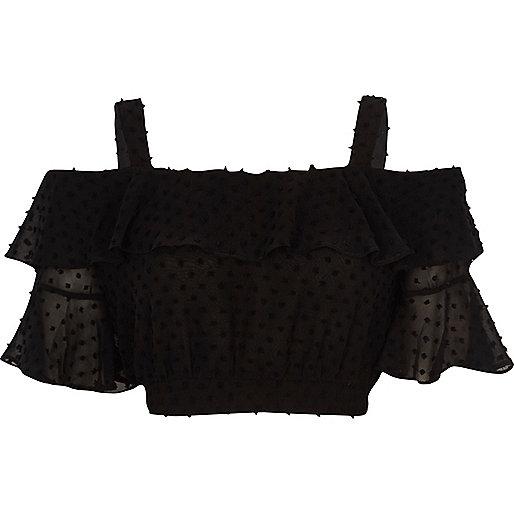 Black dobby frill cold shoulder crop top