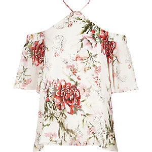 Cream floral cross neck cold shoulder top