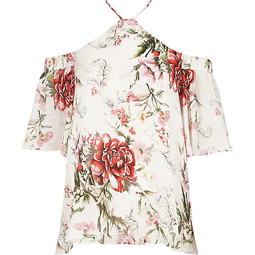 Cream floral cross neck cold shoulder top