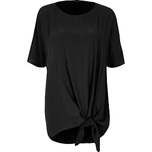 Black knot front cold shoulder top
