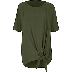 Khaki green knot front cold shoulder top