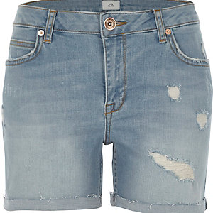 Blue wash distressed denim boyfriend shorts
