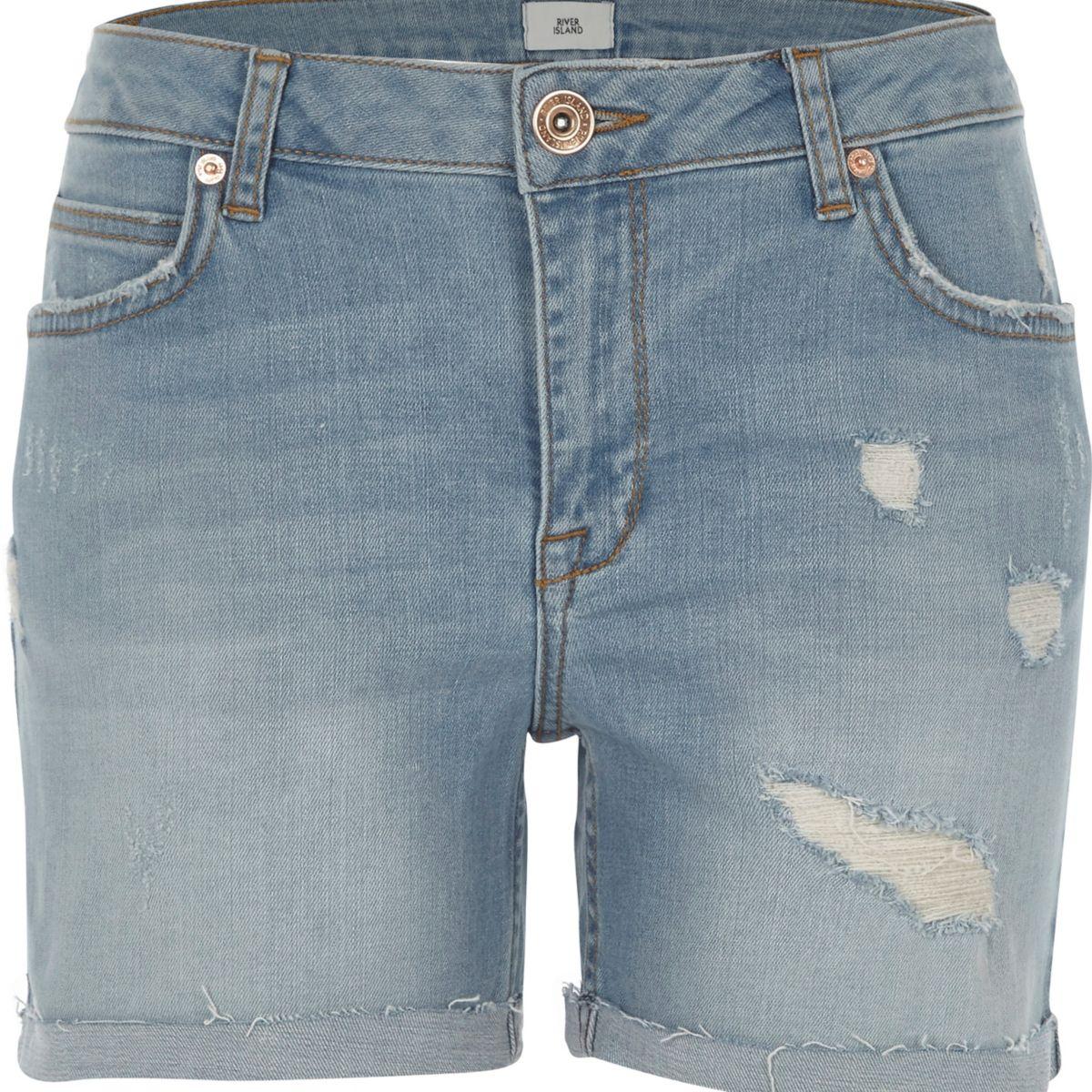 Blue wash distressed denim boyfriend shorts