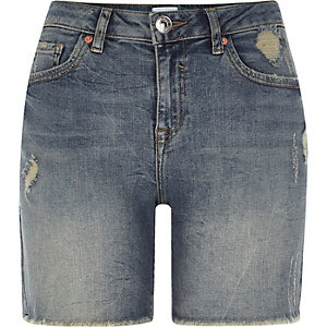 Mid blue distressed denim boyfriend shorts