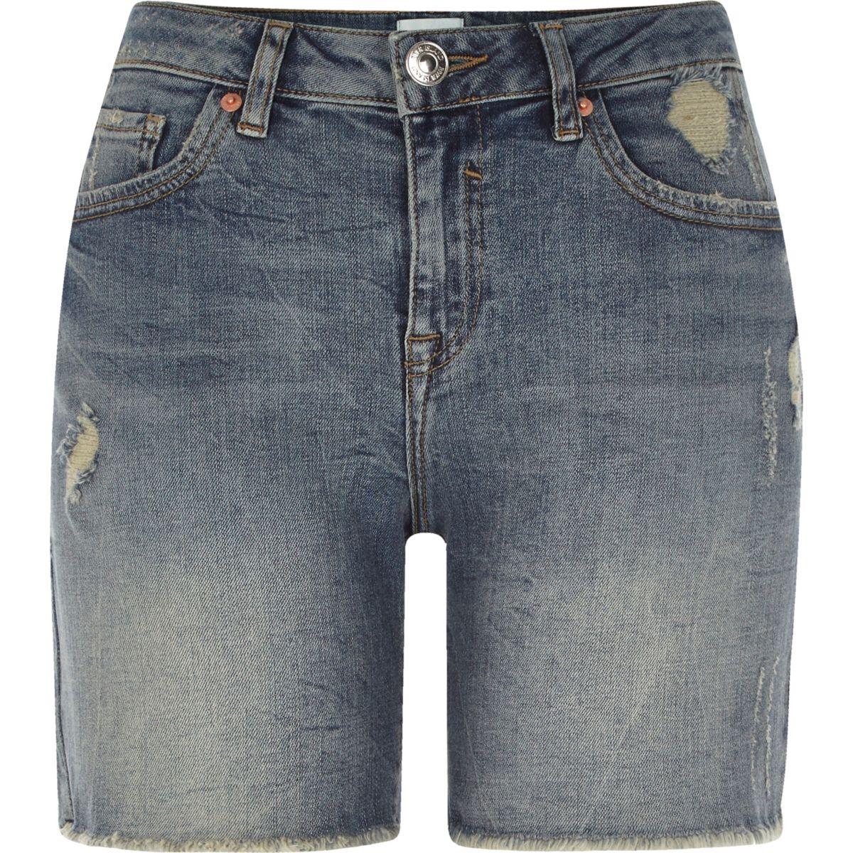 Mid blue distressed denim boyfriend shorts