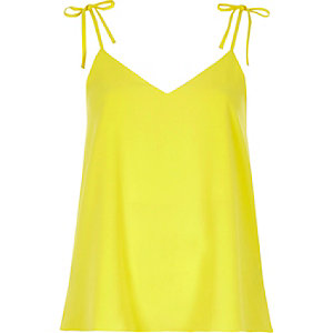 Yellow bow shoulder cami top