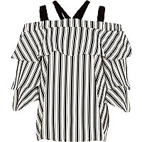 Black stripe strappy bell sleeve bardot top