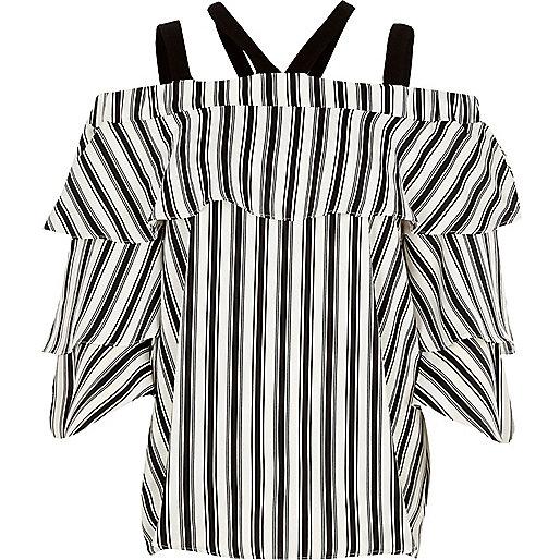 Black stripe strappy bell sleeve bardot top