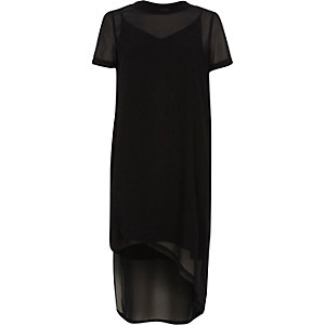 Black sheer short sleeve T-shirt dress