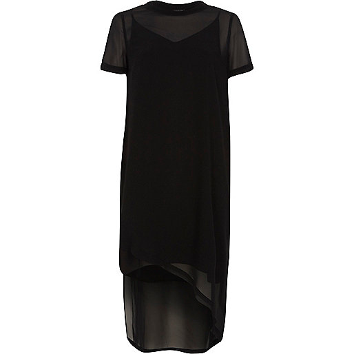 Black sheer short sleeve T-shirt dress