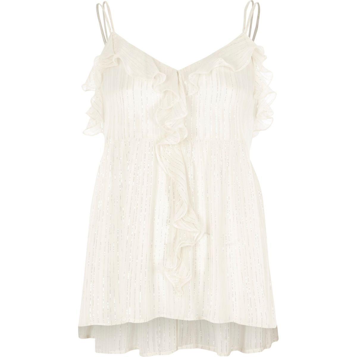 Cream metallic frill cami top