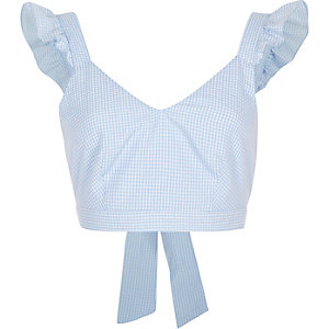 Blue gingham frill shoulder crop top