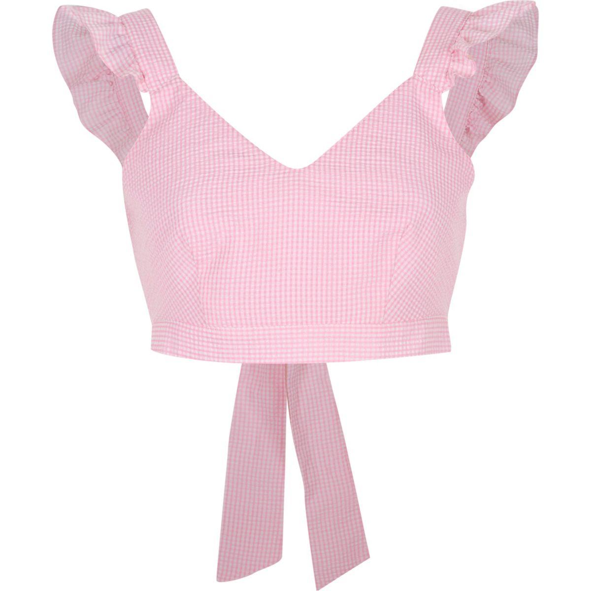 Pink gingham frill shoulder crop top