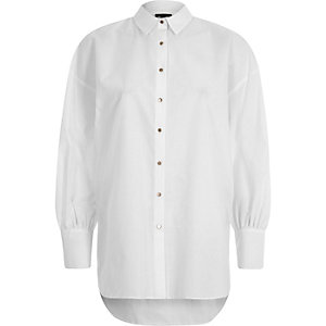 White puff sleeve oversized shirt