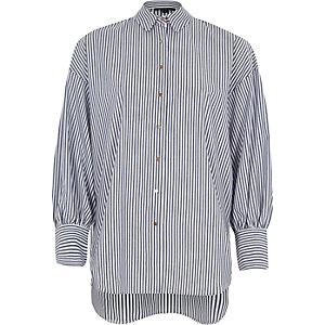 Blue stripe puff sleeve oversized shirt