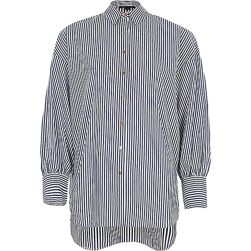 Blue stripe puff sleeve oversized shirt