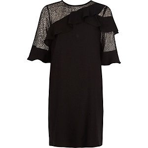 Black lace frill swing dress