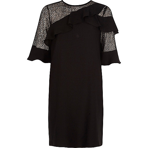 Black lace frill swing dress