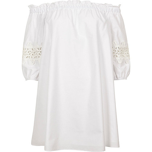 White bardot lace sleeve swing dress