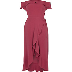 Dark pink bardot frill wrap dress