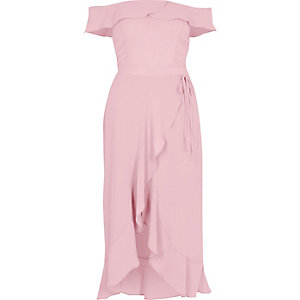 Light pink bardot frill wrap dress
