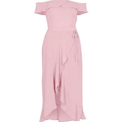 Light pink bardot frill wrap dress