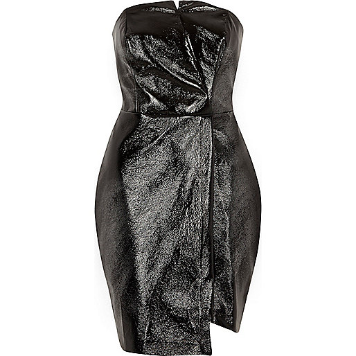 Schwarzes Bodycon-Kleid aus Lederimitat